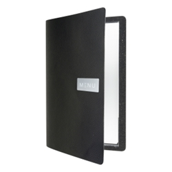 Raw Leather Menu A4 Black (Each) Raw, Leather, Menu, A4, Black, Nevilles