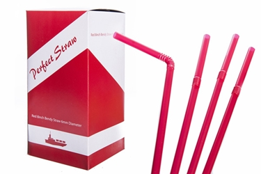 "Red 8"" Bendy Straw 6mm (x250)"