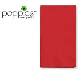 Red Pre-Folded 3 Ply 40cm Napkins (1000 Pack)