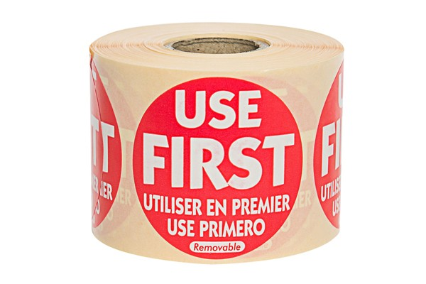 Red Use First Label - 50mm Round (x500)