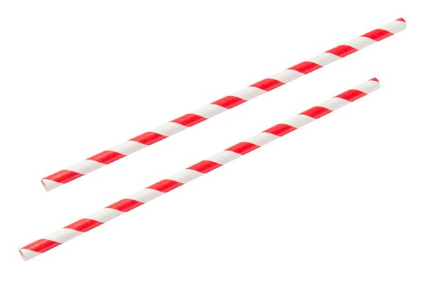 "Red & White 8"" Paper Straw (x25)"