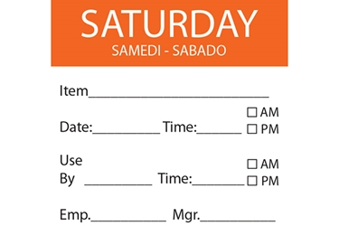 SATURDAY Day Label - 50mm x 50mm (x500)