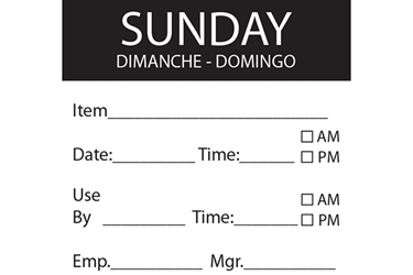 SUNDAY Day Label - 50mm x 50mm (x500)