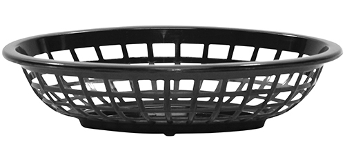 Side Order Oval Plastic Basket, Black, 7.75 x 5.5 x 1.875""
