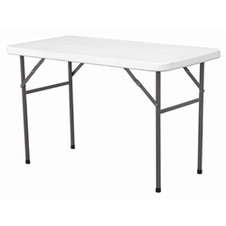 Solid Top Folding Table 4 White HDPE (Each) Solid, Top, Folding, Table, 4, White, HDPE, Nevilles