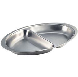 Stainless Steel 2 Div. Oval Banqueting Dish 20 (Each) Stainless, Steel, 2, Div., Oval, Banqueting, Dish, 20, Nevilles