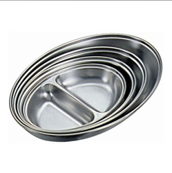 Stainless Steel 2 Div. Oval Veg Dish 14 Width 21.2cm (Each) Stainless, Steel, 2, Div., Oval, Veg, Dish, 14, Width, 21.2cm, Nevilles