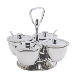 Stainless Steel Revolving Relish Server 3-Way (62399) (Each) Stainless, Steel, Revolving, Relish, Server, 3-Way, 62399, Nevilles