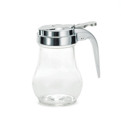 Teardrop Glass Syrup Dispenser  6 oz , Chrome Plated Metal Top