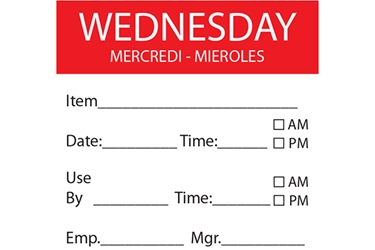 WEDNESDAY Day Label - 50mm x 50mm (x500)