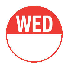 WEDNESDAY - Round Day Dot (1000 Pack)