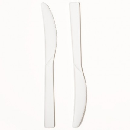 White Plastic PP Knife Bulk Pack (x1000)