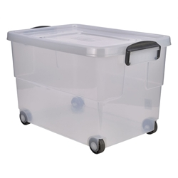 Storage Box 60L w/ Clip Handles on Wheels (4 Pack) Storage, Box, 60L, w/, Clip, Handles, on, Wheels, Nevilles