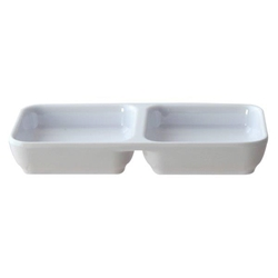 4 oz, 6? X 3? / 150mm X 75mm Twin Sauce Dish, Classic White (12 Pack)