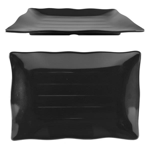 13 1/2? X 9 1/8? / 345mm X 230mm Wave Rectangular Plate, Classic Black