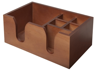Wooden Bar Caddy - Walnut Effect (Each) Wooden, Bar, Caddy, Walnut, Effect, Beaumont