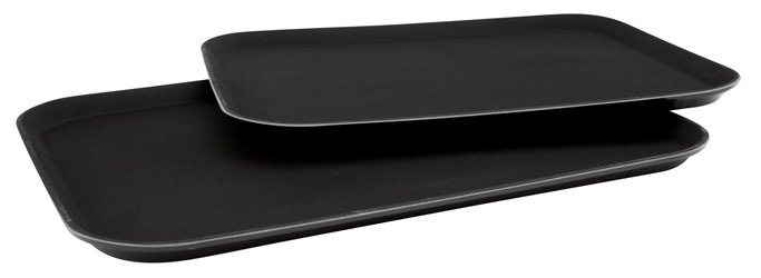 "14""x18"" Black Plastic Non Slip Tray (Each) 14""x18"", Black, Plastic, Non, Slip, Tray, Beaumont"