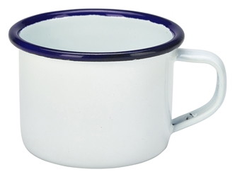 Enamel Mug White With Blue Rim 12cl/4.2oz (Each) Enamel, Mug, White, With, Blue, Rim, 12cl/4.2oz, Nevilles