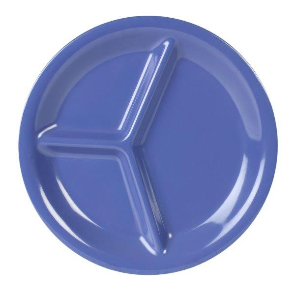 10 1/4? / 260mm, 3 Compartment Plate, Blue (12 Pack)