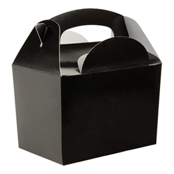 Black paperboard box with handle