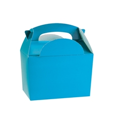 Bright blue paperboard box with handle