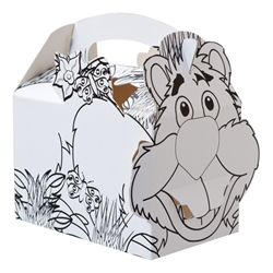 Colour-in Jungle Lion paperboard box with handle