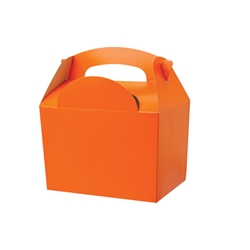Orange paperboard box with handle