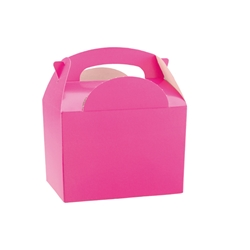Pink paperboard box with handle