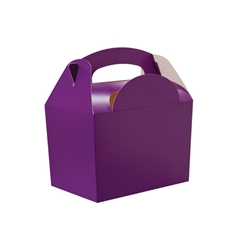 Purple paperboard box with handle