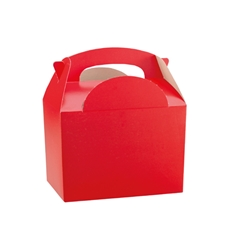 Red paperboard box with handle