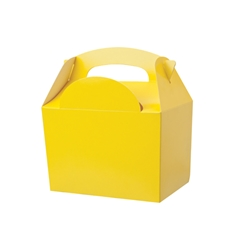 Yellow paperboard box with handle