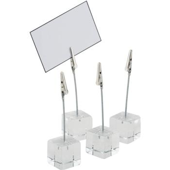 4 Acrylic Table stands. Incl. Labels (Pack of 1)