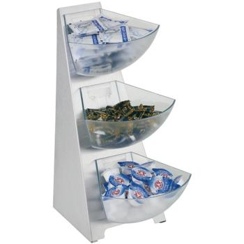 3 Tier Sachet Holder, S/S with Plastic Bowls (1Ltr) (Pack of 1)