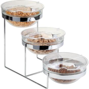 3 Tier Chrome Buffet Stand, 3 Glass Bowls (23cm) (Pack of 1)