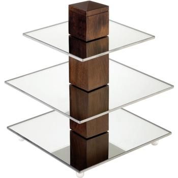 3 Tier Display 25cm (Beech & Mirror Glass) (Pack of 1)
