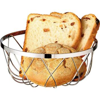 Chrome Plated Bread Basket. Stackable. (23cm) (Pack of 1)