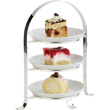 3 Tier Chrome Serving Stand (Max 17cm Plates) (Pack of 1)