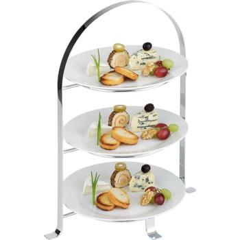 3 Tier Chrome Serving Stand (max 26cm plates) (Pack of 1)