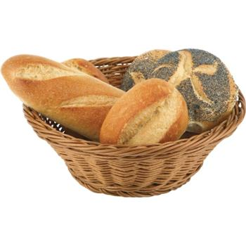 Round Poly Rattan Bread Basket. Stackable. (25.5cm) (Pack of 1)