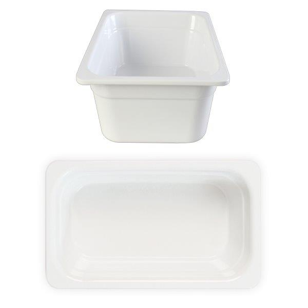 GN 1/4 100mm Deep Gastronorm Pan, Melamine, White