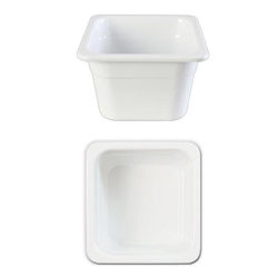 GN 1/6 100mm Deep Gastronorm Pan, Melamine, White