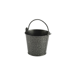 Galvanised Steel Antique Silver Hammered Serving Bucket 10cm (Each) Galvanised, Steel, Antique, Silver, Hammered, Serving, Bucket, 10cm, Nevilles