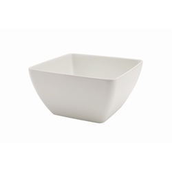 White Melamine Curved Square Bowl 19cm (Each) White, Melamine, Curved, Square, Bowl, 19cm, Nevilles