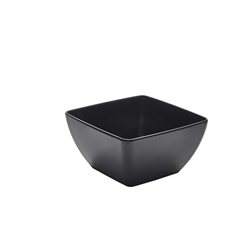 Black Melamine Curved Square Bowl 19cm (Each) Black, Melamine, Curved, Square, Bowl, 19cm, Nevilles