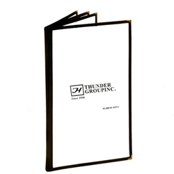 4 Page Book Fold Menu Cover, Long Size 216mm x 356mm / 8 1/2? x 14?, Black