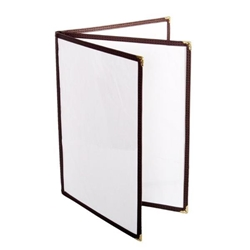 3 Page Book Fold Menu Cover, 216mm x 279mm / 8 1/2? x 11?, Brown