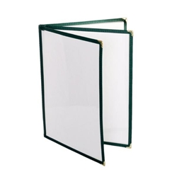 3 Page Book Fold Menu Cover, 216mm x 279mm / 8 1/2? x 11?, Green