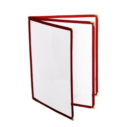 3 Page Book Fold Menu Cover, 216mm x 279mm / 8 1/2? x 11?, Maroon