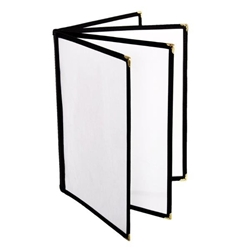 4 Page Book Fold Menu Cover, 216mm x 279mm / 8 1/2? x 11?, Black