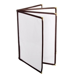 4 Page Book Fold Menu Cover, 216mm x 279mm / 8 1/2? x 11?, Brown